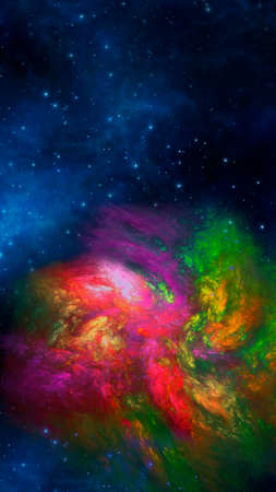 Abstract fractal multicolored neon background. Vertical banner. Used for design and creativity, for screensavers.