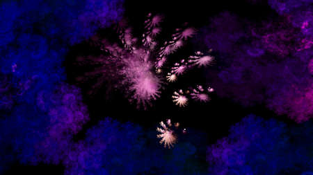 Abstract space illustration of blue and pink clouds and fractal stars on black background. Used for design and creativity, for screensavers.