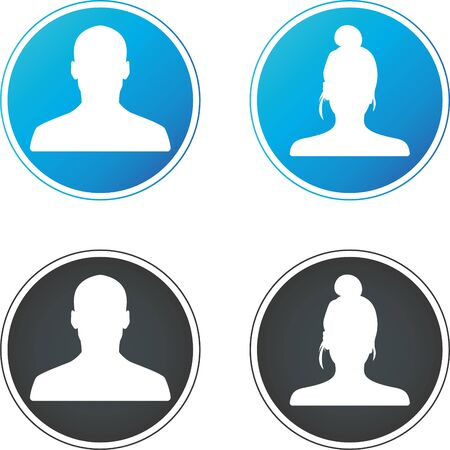 User flat avatar icon, sign, profile people symbol.Social media avatar vector graphics flat icons.Set of hand drawn Avatar profile icon (or portrait icon), including male and female. Vecteurs