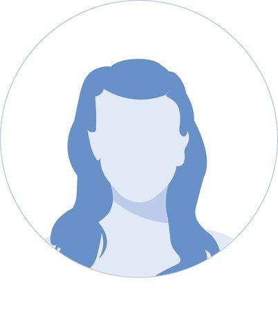 Hand drawn, modern, woman Avatar profile icon (or portrait icon). User flat avatar icon, sign, profile female symbol design illustration
