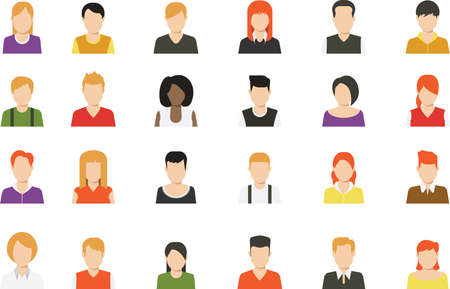 Social media avatar vector graphics flat icons. Set of hand drawn Avatar profile icon (or portrait icon), including male and female. User flat avatar icon, sign, profile people symbol.