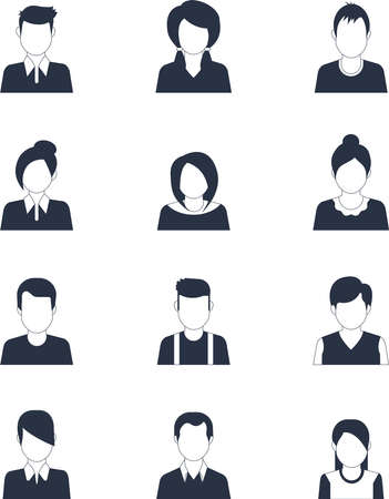Social media avatar vector graphics flat icons. Set of hand drawn Avatar profile icon (or portrait icon), including male and female. User flat avatar icon, sign, profile people symbol. Vecteurs
