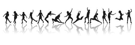 Huge collection of party people dancing. Silhouette of dancers.