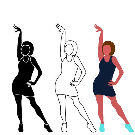 Huge collection of party people dancing. Silhouette of dancers. Illustration