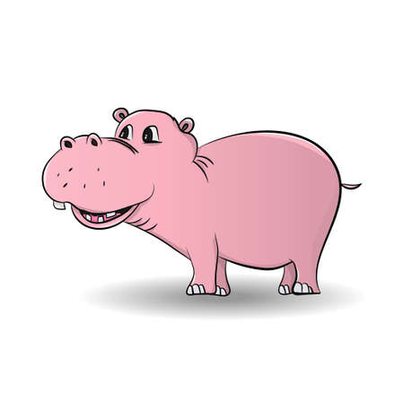 Cartoon funny, cute and little hippo character, isolated on white background- Vector