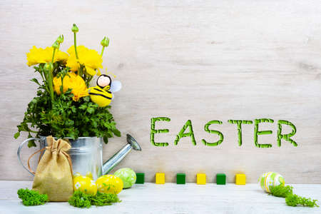 Yellow ranunculus buttercups in a metal watering can, decorative bee, Easter painted eggs, a canvas bag of gifts on a wooden background with the inscription Easter. Sample, mockup of Easter card