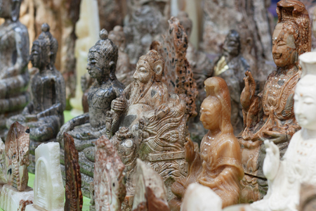 depict: Thailand January The set of natural stone statues depict the gods