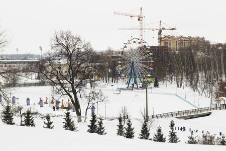 simple life: This simple life. Winter city. Ferris wheel and a children