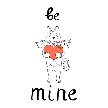 Vector illustration on the theme of Valentines Day with heart,   lettering and cute dog  in coral and black colors on a white background. Great for gift tags and greeting cards