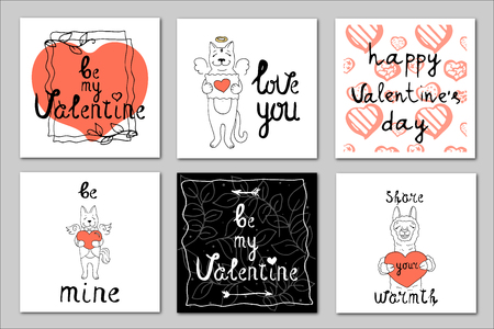 Set of 6 vector illustrations on the theme of Valentine's Day with hearts, cute animals and lettering in coral and black colors on a white background. Great for gift tags and greeting cards