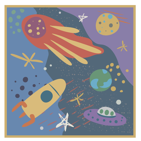 Vector illustration on the theme of space, in soft colors, with stars, comets , planets and rocket . Hand drawn, simple flat style.