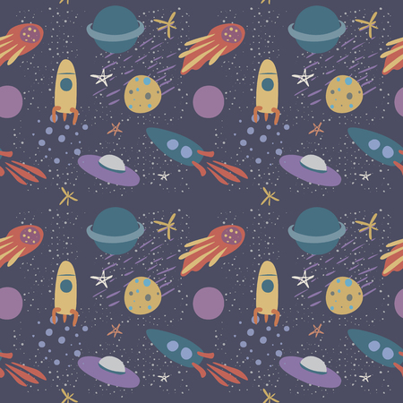 Vector seamless pattern on the theme of space, in soft colors, with stars, comet, planets and rockets. Hand drawn, simple flat style. Иллюстрация