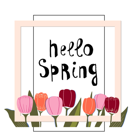 Spring vector illustration with decor of tulips,frames and lettering,in trendy colors. Simple flat style,on white background. Ilustração