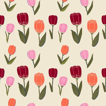 Patrón transparente de vector con tulipanes, hojas y elementos gráficos. Estilo plano simple, en colores de moda sobre un fondo pastel.