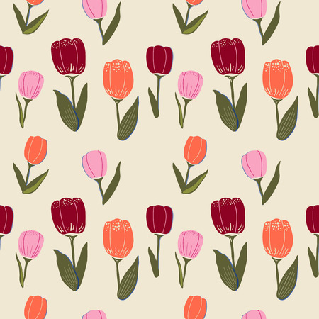 Vector seamless pattern with tulips, leaves and graphic elements. Simple flat style, in trendy colors on a pastel background.