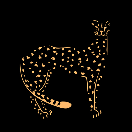 Silhouette of cheetah,gold on a black background. Vector illustration, hand drawn. Ilustração