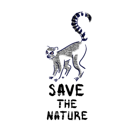 Silhouette of lemur catta  and grunge lettering on a white background.Wildlife,enviroment protection. Vector illustration, hand drawn. Illustration