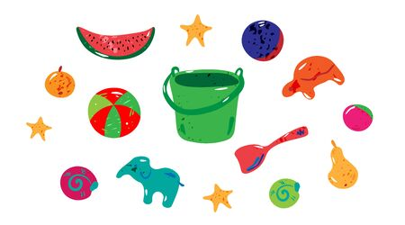 Summer set. Beach symbols. Bucket, toys,fruits. Cartoon style with texture. Vector illustration. Colorful elements isolated on white. Template for banner, poster, flyer, greeting card and etc.