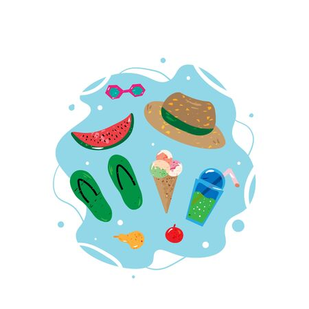 Summer concept. Beach symbols.Icecream,hat, sunglases, drink. Cartoon style with texture. Vector illustration. Colorful elements isolated on white. Template for banner, poster, flyer, greeting card and etc. 向量圖像