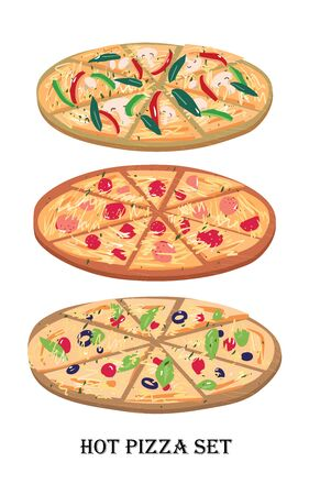 Pizza slices on a wooden board with salami tomato olives pepper greens cartoon flat vector illustration set.