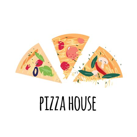 Pizza slices with tomato, pepper, olives, cheese, mushroom, basil, salami on white background with Pizza house words. Flat cartoon vector illustration for advertisement, banner, emblem or cafe menu.