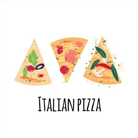 Pizza slices with tomato, pepper, olives, cheese, mushroom, basil, salami on white background with Italian pizza words. Flat cartoon vector illustration for advertisement, banner, label or cafe menu.