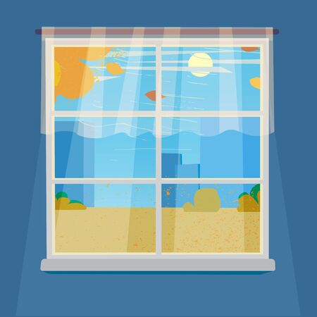 Window on blue wall with view on the autumn city landscape with tree and fall of the leaves. Vector illustration.