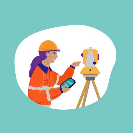 Surveyor woman working with theodolite outdoor. Engineer girl with surveyor equipment. Smiling worker cartoon flat character. Vector illustration isolated on white with blue background.