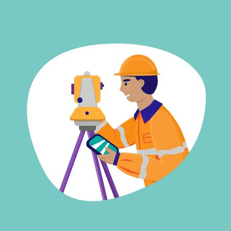 Surveyor working with theodolite outdoor. Engineer with surveyor equipment. Smiling worker cartoon flat character. Vector illustration isolated on white with blue background.