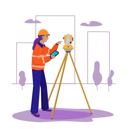 Surveyor woman working with theodolite outdoor on the background trees and city. Engineer girl with surveyor equipment. Smiling worker cartoon flat character. Vector illustration isolated on white.