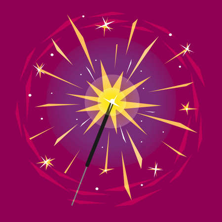 Burning sparkler isolated on magenta background. Bright yellow indian firework with sparks. Vector illustration.