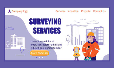 Landing page template for surveying services. Surveyor woman working with theodolite outdoor on the background of building construction.