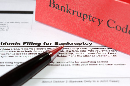 bankruptcy form and bankruptcy law book Stok Fotoğraf - 72956062