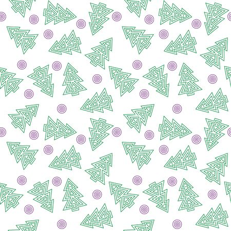 fur trees: seamless pattern with fur trees and circles Illustration