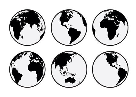 Six black and white vector Earth globes Illustration