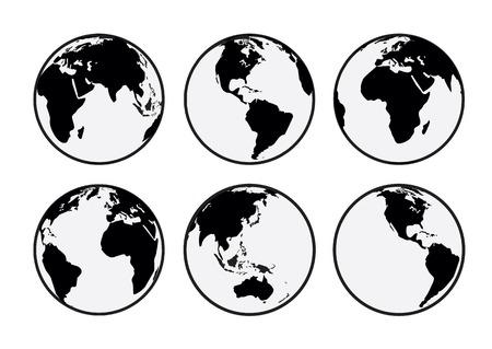 Zes zwarte en witte vector Aarde globes