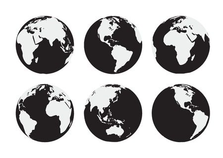 Six black and white vector Earth globes Ilustracja