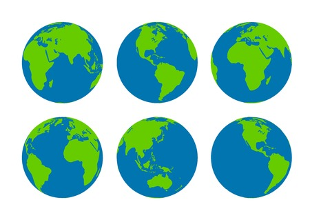 world globe map: Six Earth globes