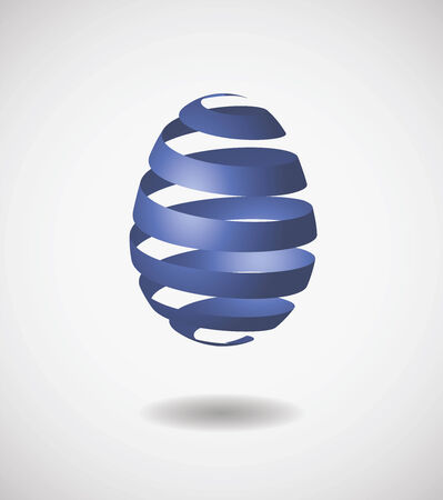 Easter egg from blue ribbon.  Ilustracja