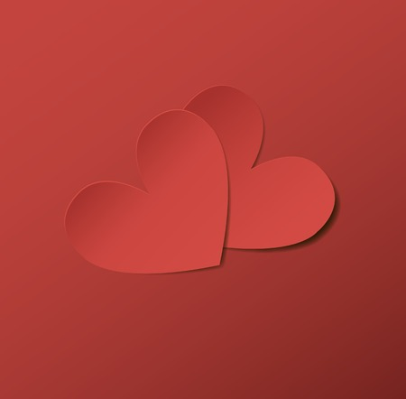 Two red paper hearts.  Ilustracja