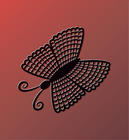 Black butterfly on red background.  Ilustracja