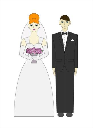 Bride ang groom  Wedding couple  Vector illustration