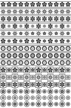 Black and white floral ornaments
