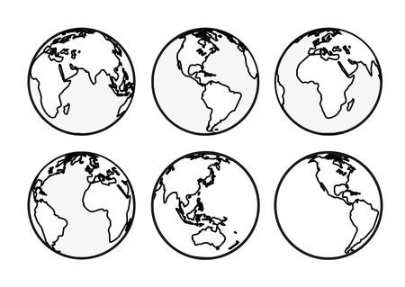 Six Earth globes Vector