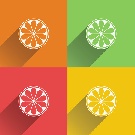 Collection of four citrus fruits icons in flat style.  Ilustracja