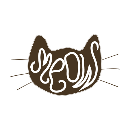 silhouette chat: Visage de chat Vecteur