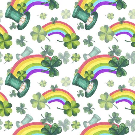fourleaf: St Patricks Day Illustration Seamless Pattern Hand-Painted Green Shamrock Background Texture Wallpaper Scrapbook Paper