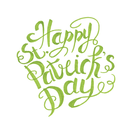 St Patricks Day Illustration Lettering Hand-Painted Stock Photo