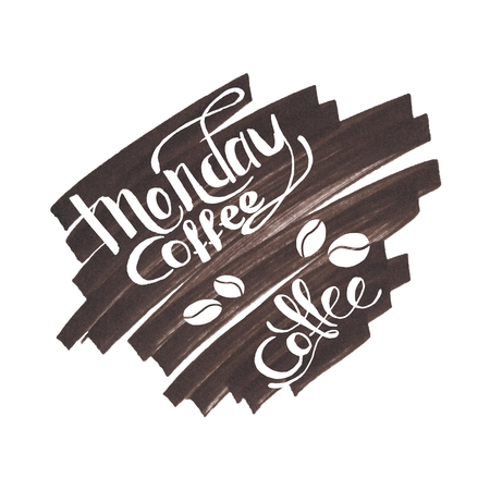 Hand Lettering Monday Coffee Brown Background
