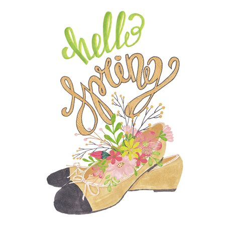 Hello Spring Hand-Painted Shoe Floral Illustration
